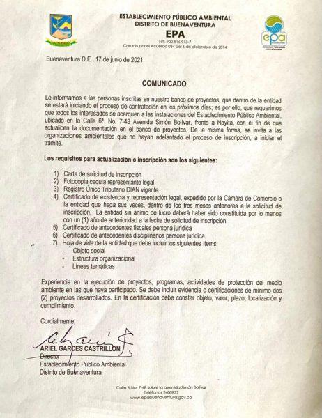 El EPA Buenaventura invita a los interesados a inscribirse o renovar sus datos y formatos en el Banco de Proyectos de la institución.